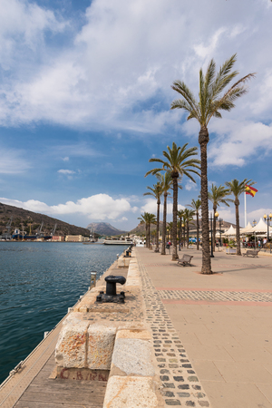 Tourist walking in Marina of Cartagena, Murcia, Spain.