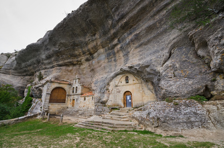 Ancient cave heremitage of St Bernabe, in Burgos, Spain.