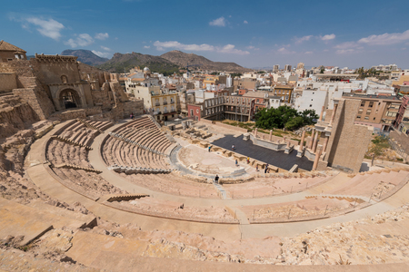 Roman amphitheater in Cartagena city, Murcia, Spain. Sajtókép