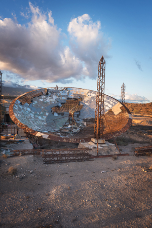 Ruined setellite dish antenna in south Tenerife, Canary islands, Spain.