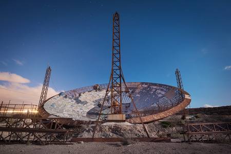 Night photography of a ruined setellite dish antenna in south Tenerife, Canary islands, Spain.