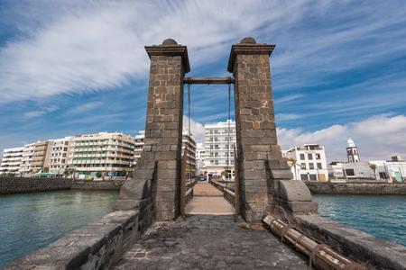 Arrecife, Spain - February 12, 2018: Arrecife cityscape, Balls bridge in Lanzarote, Canary islands, Spain.