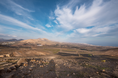 Lanzarote landscape from Femes viewpoint, Canary islands, Spain.
