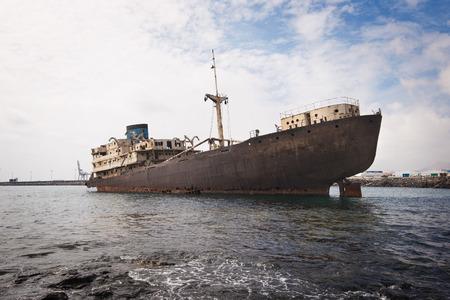 Shipwreck in Lanzarote, Canary islands, Spain.