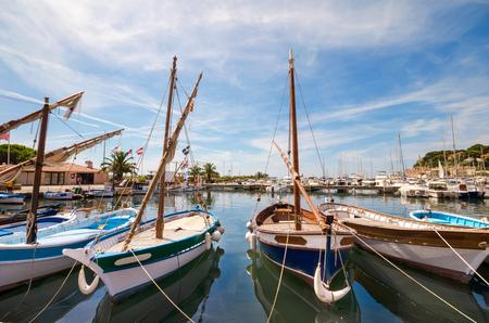 Small recreational boats in mediterranean sea, Sanary sur Mer, France. Foto de archivo