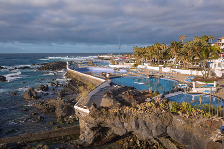 Lago Martianez pools in Puerto de la Cruz, Tenerife, Canary islands, Spain. Stock Photo - 99673396