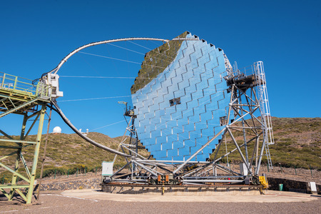 La Palma, Spain - May 30, 2018: Magic Gamma ray telescope in ORM observatory of Roque de los muchachos, Canary islands, Spain.