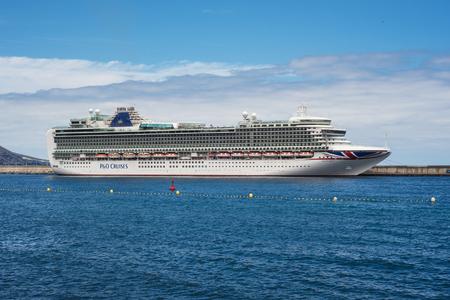 "Santa Cruz de la Palma, Spain - May 31, 2018: The luxury cruise ""ventura"" of P & O Cruises company docked in La Palma Port, Canary islands, Spain. Editorial"