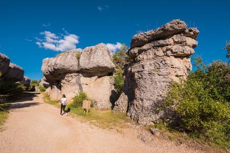 La Ciudad encantada. The enchanted city natural park, group of crapicious forms limestone rocks in Cuenca, Spain.