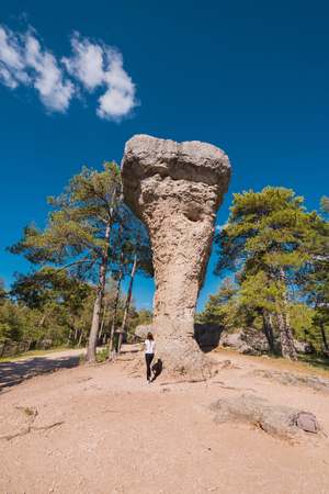 La Ciudad encantada. The enchanted city natural park, group of crapicious forms limestone rocks in Cuenca, Spain. 스톡 콘텐츠 - 105133347