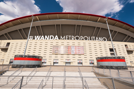 Madrid, Spain - July 15, 2018 - Wanda Metropolitano stadium in Madrid, Spain. Wanda Metropolitano is the new stadium of Atletico de Madrid, Spanish football club.