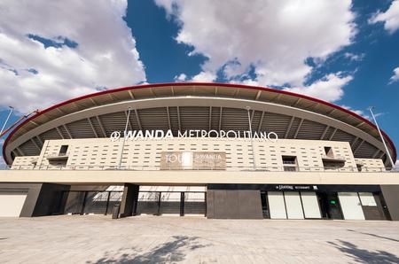 Madrid, Spain - July 15, 2018 - Wanda Metropolitano stadium in Madrid, Spain. Wanda Metropolitano is the new stadium of Atletico de Madrid, Spanish football club. Editorial
