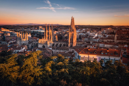 Burgos Cathedral and city panorama at sunset. Burgos, Castile and Leon, Spain. Reklamní fotografie