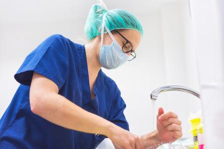 Veterinary surgeon washing hands before operating