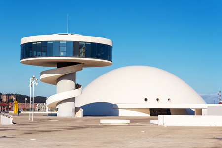 Aviles, Spain - November 19, 2018: Niemeyer Center building in Aviles. Is a cultural center designed by Brazilian architect Oscar Niemeyer. Editorial