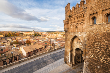 Gate of the sun, historic entrance to the medieval city of Toledo, Spain. Stock Photo