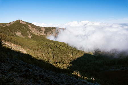 Ascending clouds in natural landscape of Teide national park in Tenerife, Canary islands.