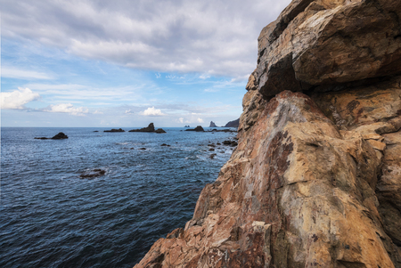 Scenic landscapel, Rock formation and bkue ocean landscape in Tenerife, Canary islands.