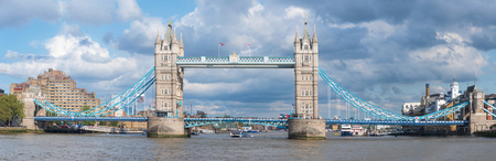Panoramic view of Tower Bridge in London.