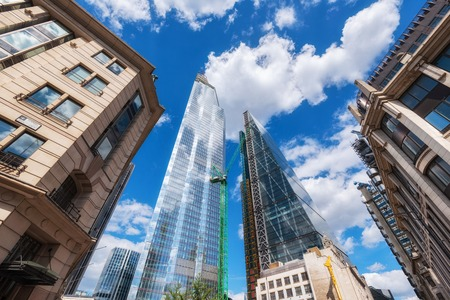 London, United Kingdom, Skyscrapers at financial district.