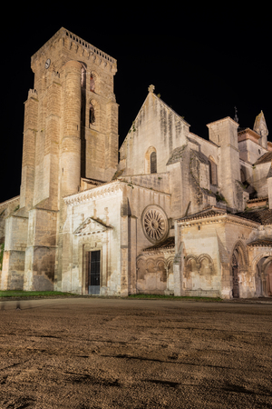 Night scene of Monasterio de las Huelgas - Burgos.  Abbey of Santa Maria la Real de Las Huelgas - Burgos, Castile and Leon, Spain.