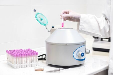Technician loading a sample to centrifuge machine in the medical or scientific laboratory. Stock Photo