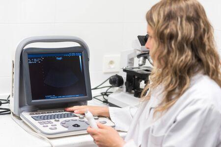 Hübsche Ärztin, posiert, während sie eine Sonographie macht. Ärztin, die weißen Kittel trägt, ein Ultraschallgerät in der Hand hält und eine Sonographieuntersuchung in einer modernen Klinik durchführt.