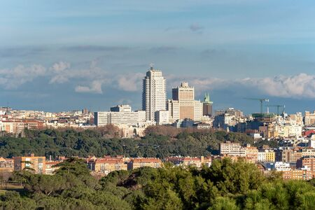 Panoramic view of Madrid skyline from the Casa de Campo park.