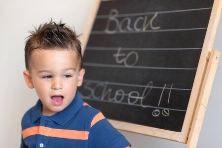 Portrait of little elementary school pupil with text of Back To School on the blackboard.