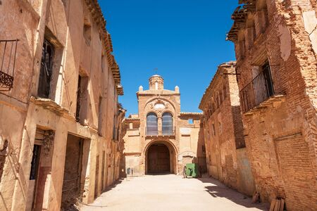 Ruins of Belchite, Spain, town in Aragon that was completely destroyed during the Spanish civil war. 写真素材