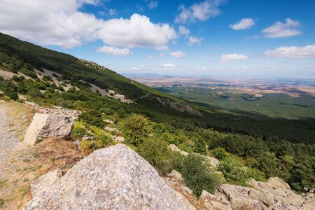 View of green valleys of Aragon region from the moncayo mountain. Natural environment in summer season.