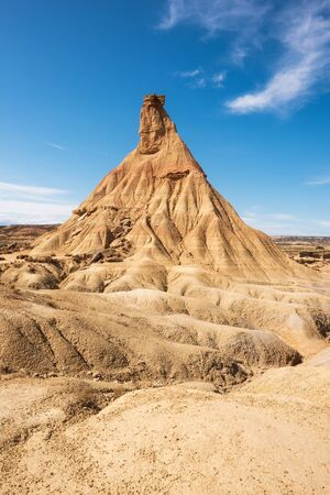 Desertic landscape in Bardenas Reales of Navarra, Spain. Imagens