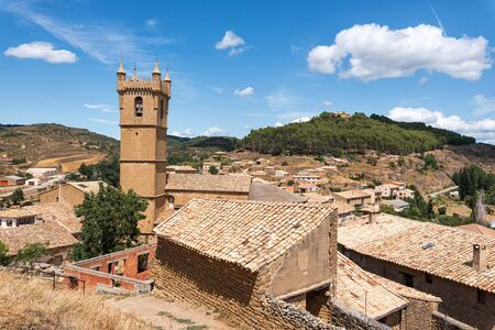 Cityscape of historic medieval village of Uncastillo in Aragon region, Spain. Stock Photo