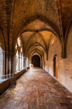 Aragon, Spain - August 11, 2019: Interior of famous cistercian monastery of Veruela, in Aragon, Spain. Editorial