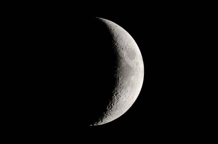 Fases de la luna. Creciente de cera, fondo de luna.