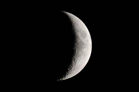 Phasen des Mondes. Zunehmender Halbmond, Mondhintergrund.