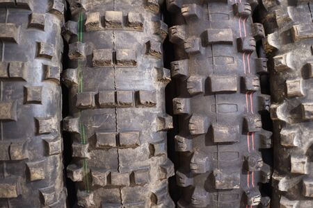 Used off road motocross tires background. Stok Fotoğraf
