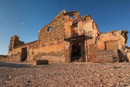 Night scene of Belchite town ruins, destroyed during the spanish civil war, Saragossa, Spain. Banque d'images