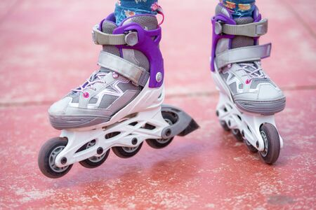 Close up on roller skate shoes. Concept of youth, and sport lifestyle. 版權商用圖片