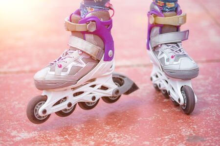 Close up on roller skate shoes. Concept of youth, and sport lifestyle. 版權商用圖片 - 131797960