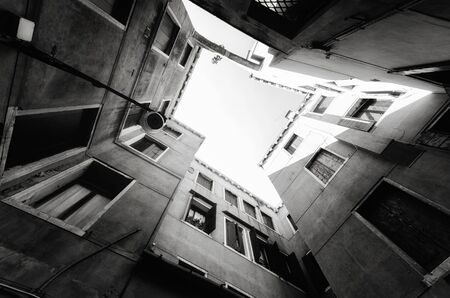 Building abstract background. Residential building in black and white .