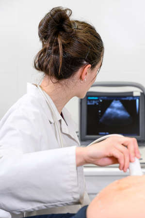 Doctor does Ultrasound or Sonogram Procedure to a Pregnant Woman in the Hospital, Close-up Shot of the Obstetrician Moving Transducer on the Belly of the Future Mother.