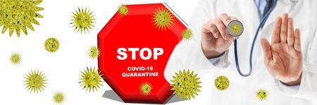 Illustrative Banner. Concept of coronavirus pandemic outbreak. Doctor in medical gown signaling stop with hand palm, surrounded by coronavirus.