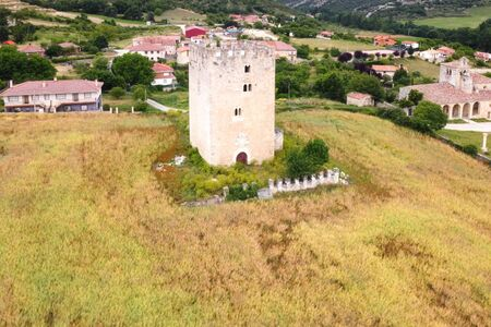Aerial view of a medieval Tower in valdenoceda, Burgos, Spain. Ancient XIV Century tower in Burgos Castile and Leon.