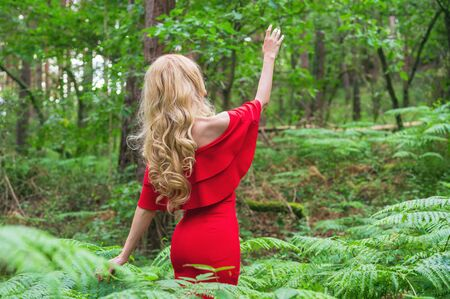 Back view of a Beautiful blonde girl in a chic red dress touching a fern in the fairy forest. Atmosphere fantastic. Stock Photo - 150559195