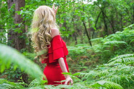 Back view of a Beautiful blonde girl in a chic red dress touching a fern in the fairy forest. Atmosphere fantastic. Stock fotó - 150636334