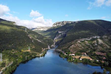 Aerial view of El Sobron lake and Ebro river canyon in Burgos, Castilla y Leon, Spain. Stock Photo - 151115118