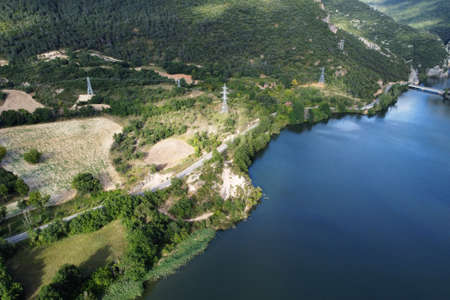 Aerial view of El Sobron lake and Ebro river canyon in Burgos, Castilla y Leon, Spain.
