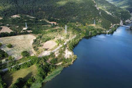 Aerial view of El Sobron lake and Ebro river canyon in Burgos, Castilla y Leon, Spain. Stock Photo - 151115133
