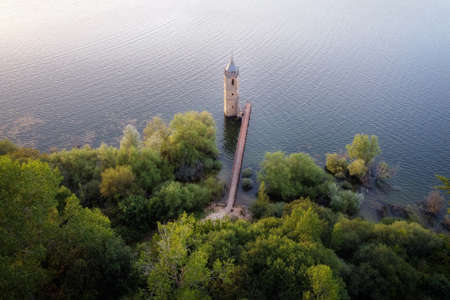 Aerial view of The fish cathedral. Sunken church ruins located in the Ebro reservoir in Cantabria, in the north of Spain.